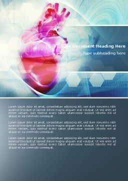 Artificial Heart Word Template, Cover Page, 04644, Medical — PoweredTemplate.com