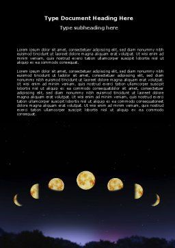 Lunar Phases Word Template, Cover Page, 04650, Education & Training — PoweredTemplate.com