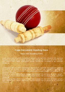 Cricket Ball Word Template, Cover Page, 04662, Sports — PoweredTemplate.com