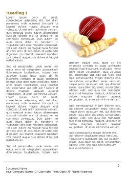 Cricket Ball Word Template, First Inner Page, 04662, Sports — PoweredTemplate.com