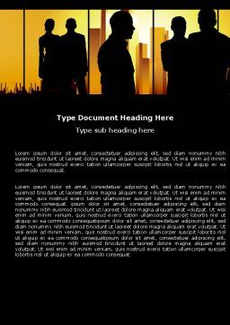 Silhouettes Word Template, Cover Page, 04665, Business — PoweredTemplate.com