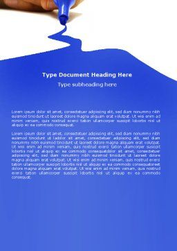Blue Marker Word Template, Cover Page, 04685, Business Concepts — PoweredTemplate.com