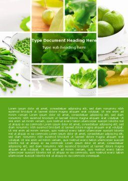 Green Salad Word Template, Cover Page, 04737, Food & Beverage — PoweredTemplate.com