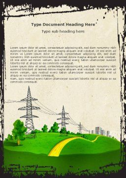 Electric Power Line Word Template, Cover Page, 04777, Careers/Industry — PoweredTemplate.com