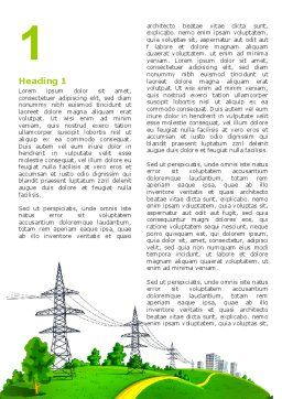 Electric Power Line Word Template, First Inner Page, 04777, Careers/Industry — PoweredTemplate.com
