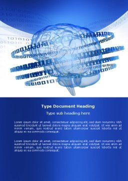 Artificial Mind Word Template, Cover Page, 04792, Technology, Science & Computers — PoweredTemplate.com