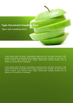 Sliced Green Apple Word Template, Cover Page, 04794, Food & Beverage — PoweredTemplate.com