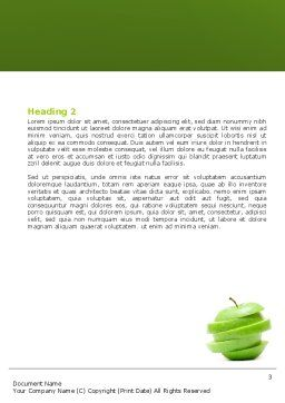 Sliced Green Apple Word Template, Second Inner Page, 04794, Food & Beverage — PoweredTemplate.com