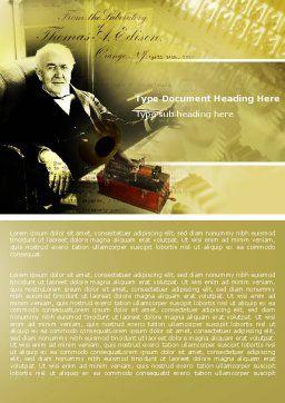 Thomas Edison Word Template, Cover Page, 04802, Education & Training — PoweredTemplate.com