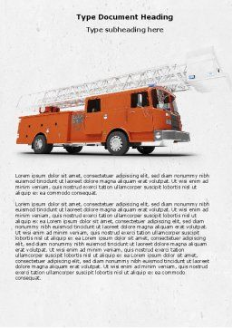 Fire Engine Word Template, Cover Page, 04818, Careers/Industry — PoweredTemplate.com