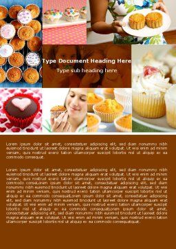 Cupcakes Word Template, Cover Page, 04823, Food & Beverage — PoweredTemplate.com
