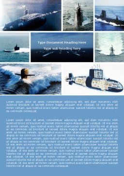 Submarine Word Template, Cover Page, 04850, Military — PoweredTemplate.com
