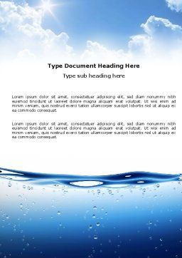 Water Wave Word Template Cover Page