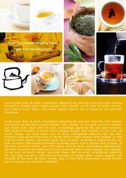 Tea Collage Word Template, Cover Page, 04871, Food & Beverage — PoweredTemplate.com