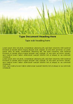Green Grass Under Blue Sky Word Template Cover Page
