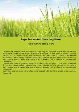 Green Grass Under Blue Sky Word Template, Cover Page, 04885, Nature & Environment — PoweredTemplate.com