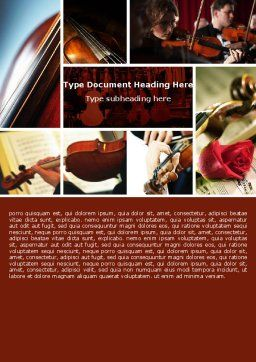 Violin Collage Word Template Cover Page