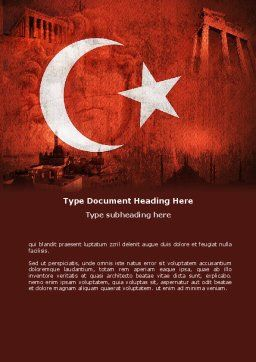 Turkey Word Template, Cover Page, 04928, Flags/International — PoweredTemplate.com