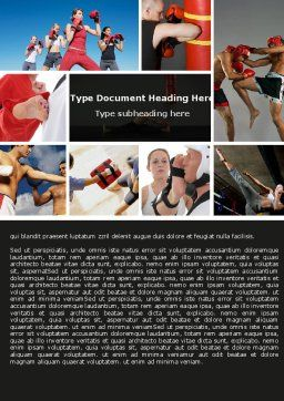 Kickboxing Word Template, Cover Page, 04933, Sports — PoweredTemplate.com