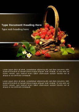 Strawberries Word Template, Cover Page, 04942, Food & Beverage — PoweredTemplate.com