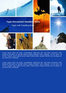Mountain Climber Word Template, Cover Page, 04944, Sports — PoweredTemplate.com