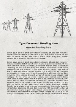 Power Lines Word Template, Cover Page, 04947, Technology, Science & Computers — PoweredTemplate.com