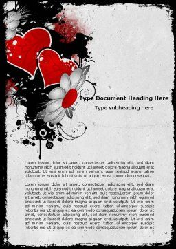 Heart Pattern Word Template, Cover Page, 04968, Holiday/Special Occasion — PoweredTemplate.com
