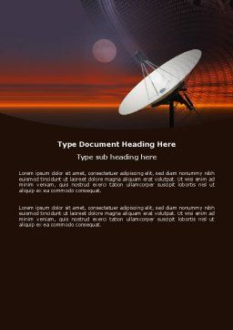Parabolic Aerial Word Template, Cover Page, 04972, Telecommunication — PoweredTemplate.com