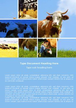 Cow Word Template, Cover Page, 04991, Agriculture and Animals — PoweredTemplate.com