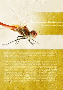 Dragonfly Word Template, Cover Page, 04999, Agriculture and Animals — PoweredTemplate.com