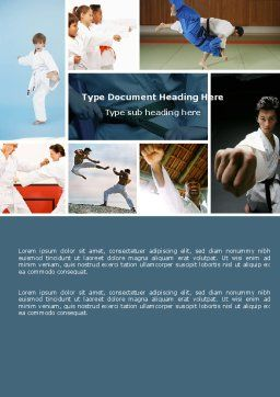 Karate Word Template, Cover Page, 05001, Sports — PoweredTemplate.com