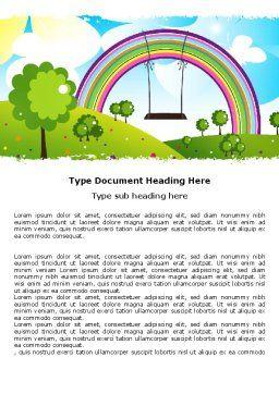 Childish Rainbow Word Template, Cover Page, 05045, Education & Training — PoweredTemplate.com