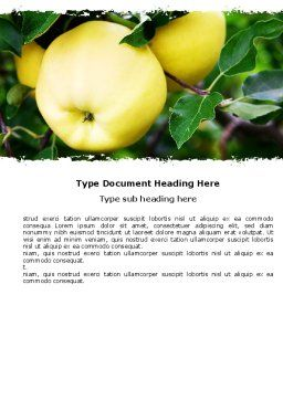 Yellow Apple Word Template, Cover Page, 05062, Agriculture and Animals — PoweredTemplate.com