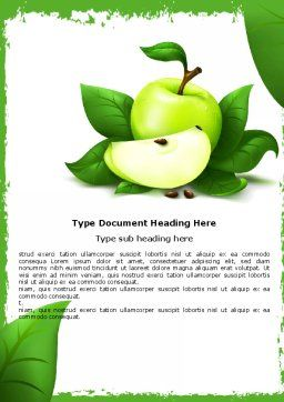 Cut Green Apple Word Template, Cover Page, 05071, Food & Beverage — PoweredTemplate.com