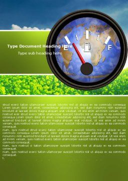 Fuel Meter Word Template, Cover Page, 05077, Careers/Industry — PoweredTemplate.com