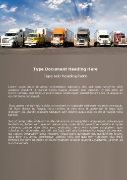 Trucks Word Template, Cover Page, 05080, Cars/Transportation — PoweredTemplate.com