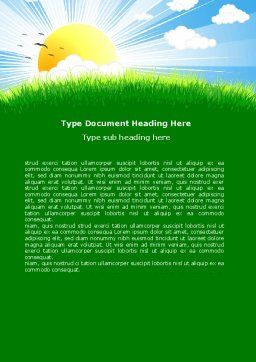 Sunrise Illustration Word Template, Cover Page, 05081, Nature & Environment — PoweredTemplate.com