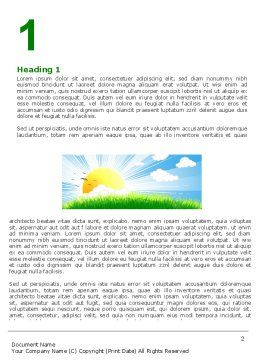 Sunrise Illustration Word Template, First Inner Page, 05081, Nature & Environment — PoweredTemplate.com