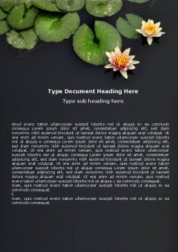 Water Lily Word Template, Cover Page, 05090, Nature & Environment — PoweredTemplate.com