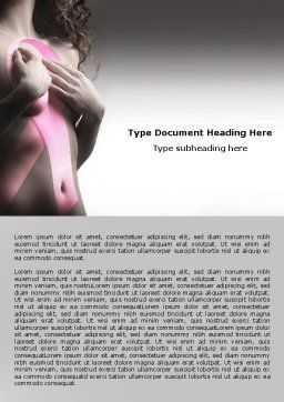Breast Cancer Ribbon On The Naked Girl Body Word Template, Cover Page, 05103, Medical — PoweredTemplate.com
