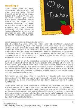 I Love My Teacher Word Template, First Inner Page, 05109, Education & Training — PoweredTemplate.com