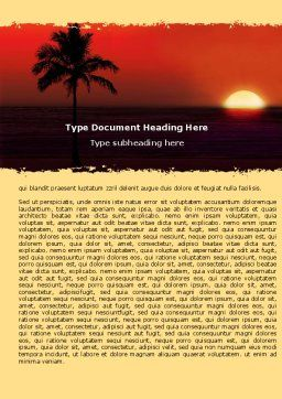 Tropical Sunset Word Template, Cover Page, 05128, Nature & Environment — PoweredTemplate.com