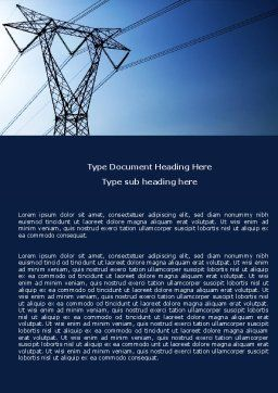 Power Lines Mast Word Template Cover Page