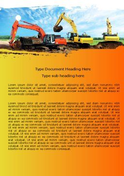 Excavator Word Template, Cover Page, 05136, Utilities/Industrial — PoweredTemplate.com