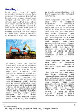 Excavator Word Template, First Inner Page, 05136, Utilities/Industrial — PoweredTemplate.com