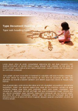 Sand Drawing Word Template, Cover Page, 05139, People — PoweredTemplate.com