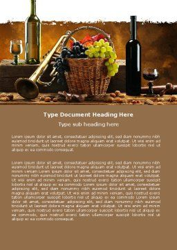 Winemaking Word Template, Cover Page, 05145, Food & Beverage — PoweredTemplate.com