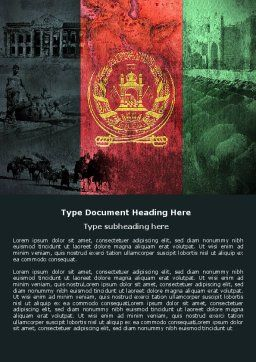 Afghanistan Word Template, Cover Page, 05152, Flags/International — PoweredTemplate.com