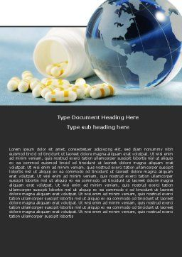 Bottle Of Tablets With Globe Word Template, Cover Page, 05180, Medical — PoweredTemplate.com