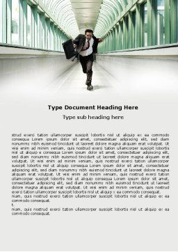 Rushing Man Word Template, Cover Page, 05184, Business Concepts — PoweredTemplate.com